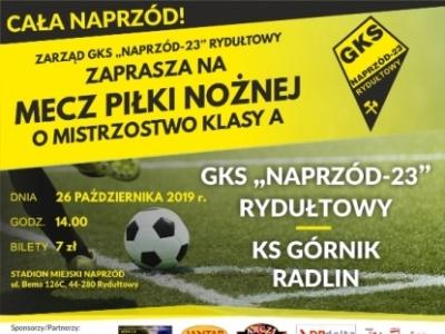 Zapraszamy na mecz GKS-23 NAPRZÓD Rydułtowy kontra KS Górnik Radlin